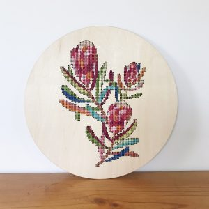 Wood Counted Cross Stitch Blank Protea